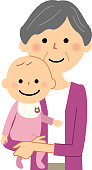 Illustration of a elderly woman holding a baby.