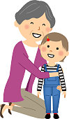 It is an illustration of a grandmother and a granddaughter.