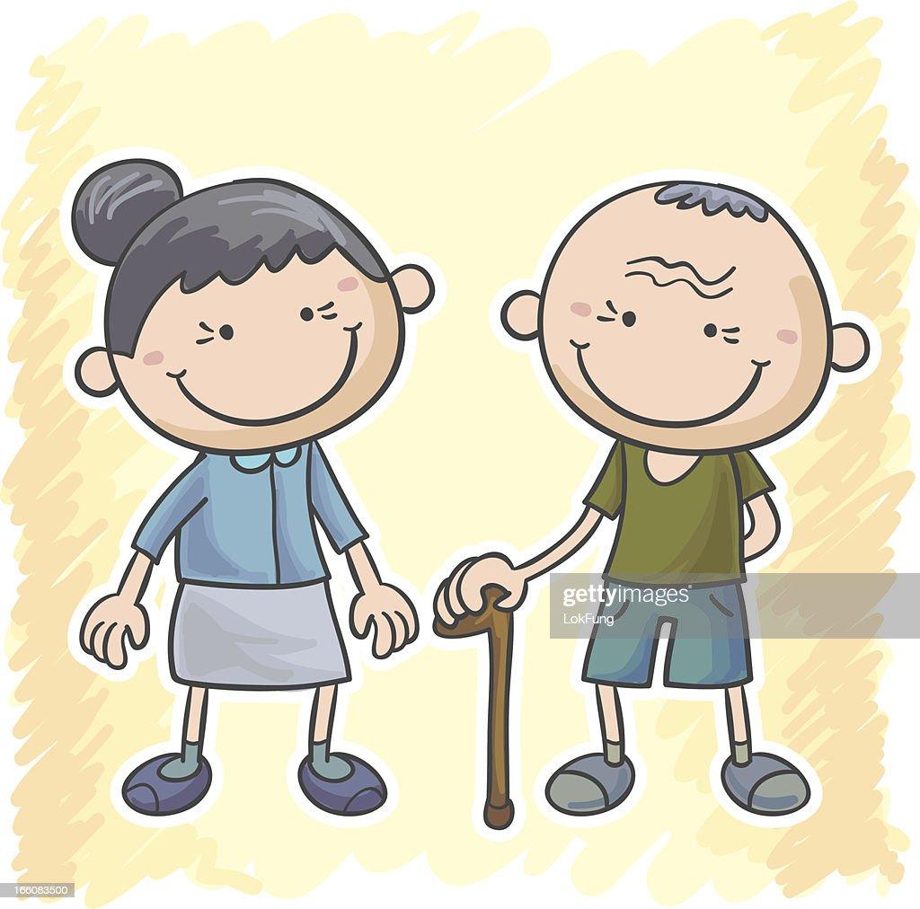 Grandma and grandpa cartoon illustration : Vector Art