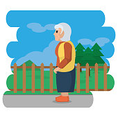 Grandmother cartoon of old person and grandparents theme Vector illustration