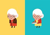 cute grandmother vector illustration flat modern style