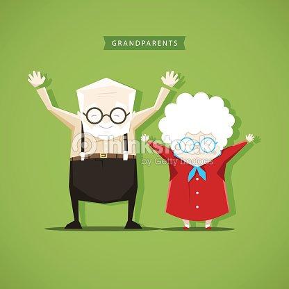 Grandparents doing morning exercises - stock vector illustration : stock vector