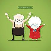Grandparents doing morning exercises - stock vector illustration. EPS 10 file.
