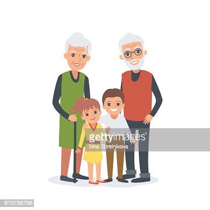 Großeltern mit Enkelkindern  : Vektorgrafik