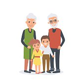 Family portrait of Grandparents with grandchildren. Vector cartoon illustration.