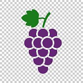 Grape fruit with leaf icon. Vector illustration on isolated transparent background. Business concept Bunch of wine grapevine pictogram.
