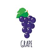 Grape in flat style. Grape vector logo. Grape icon. Isolated object. Natural food. Vector illustration. Grape on white background