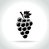 Illustration of grapes icon on white background