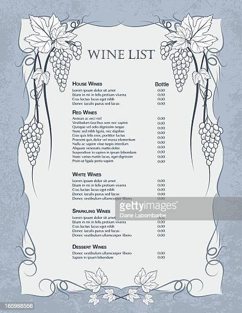 Raisin vin modèle de Liste
