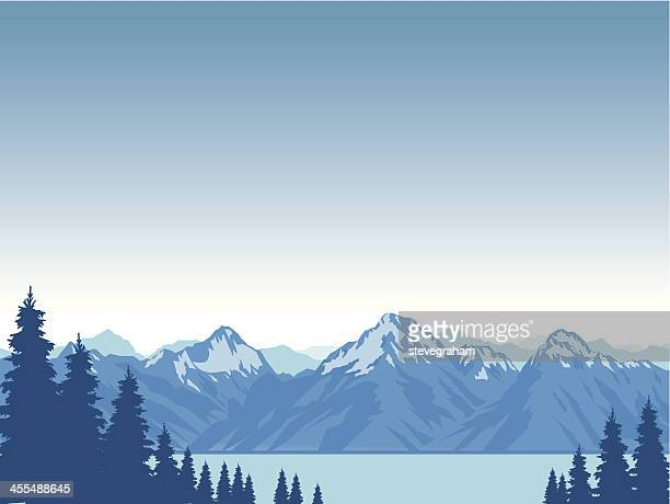 Graphic animation of snow capped mountains surrounding lake