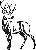 Graphic black stylized illustration drawing of decorative wild deer