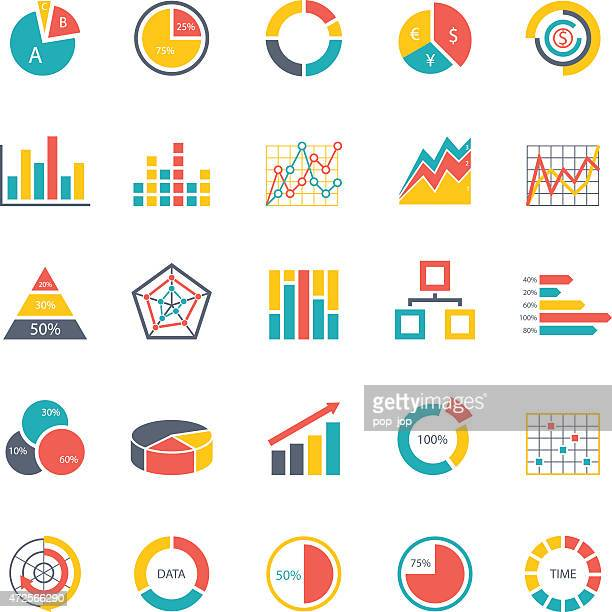 Graphic business-charts-Farbe Icon-Illustration