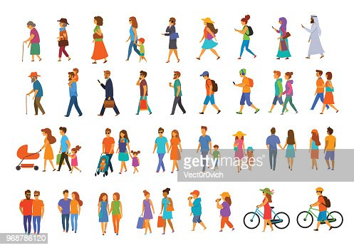 graphic collection of people walking : stock vector