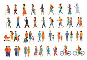 graphic collection of people walking.family couples,parents, man and woman different age generation walk with bikes,smartphones, coffee,eat,texting,talking, side back and front views isolated vector i