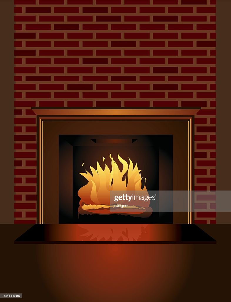 christmas fireplace vector art getty images