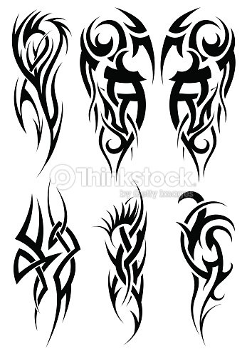 graphic design of six tribal tattoos vector art thinkstock. Black Bedroom Furniture Sets. Home Design Ideas
