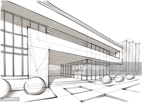 Graphic design sketch of architecture and landscape vector for Architecture graphique