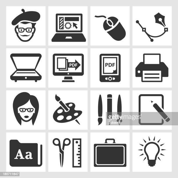 Graphic Designer and Computer Illustration black & white icon set