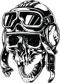 A vector illustration of Graphic detailed old human skull in retro pilot helmet