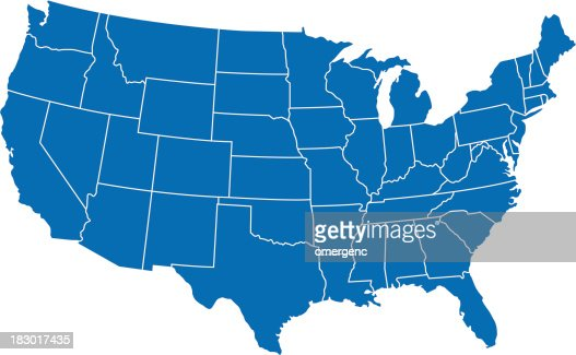 A Graphic Illustration Of The United States Map In Blue Vector Art - Us map graphic