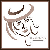 Graphic abstract with transgender (androgynous). Suitable for invitation, flyer, sticker, poster, banner, card, label, cover, web. Vector illustration.