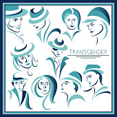 Graphic abstract with transgender (androgynous)-set. Suitable for invitation, flyer, sticker, poster, banner, card, label, cover, web. Vector illustration.