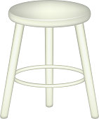 Retro stool on white background