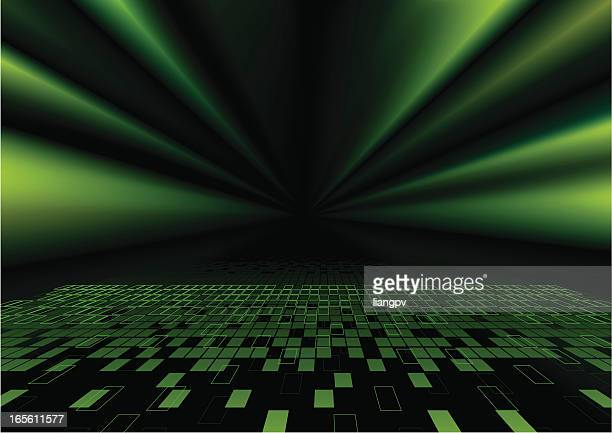 Graphic image of green sunbeams over pixelations