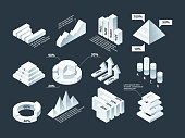 Graphic isometric. Infographic business diagram charts stats shapes vector empty infographic template. Business diagram 3d, chart isometric, graphic illustration