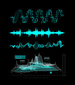 Graphic musical equalizer, sound waves, on a black background. Vector illustration