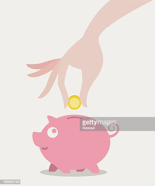 Graphic of a hand placing a coin in a pink piggy bank