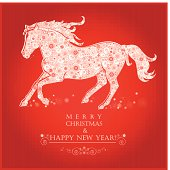 Running Horse on bright red background. Merry Christmas and Happy new year. Greeting card.