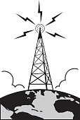 Radio Tower atop Earth sending out a communication signal.
