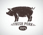 Graphic pig and labeled: 'Fresh pig'. Vector illustration drawn, by hand. Can be used as labels and packaging.