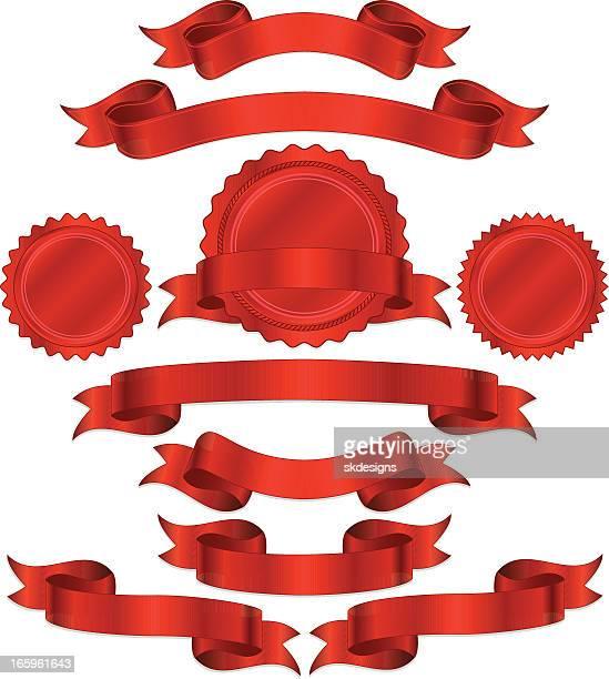 Motif rouge ensemble de bannières, rubans et autocollants