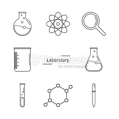 Graphic set science and chemical objects on white background. Ve : stock vector