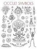 Esoteric vector engraved illustrations, tattoo gothic and wicca concept drawings on white