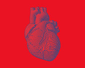 Engraving blue human heart with flow line art stroke on red background