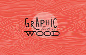 Wood graphic texture drawing with grey lines on coral background