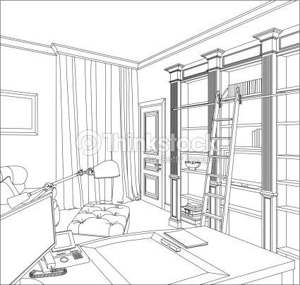 Grafische zeichnung innen vektorgrafik thinkstock for Sofa zeichnen fluchtpunkt