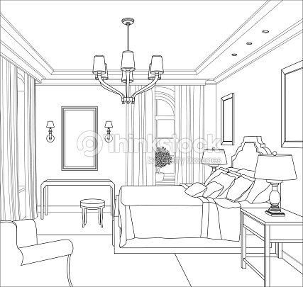 Graphical interior vector art thinkstock for 3d bedroom drawing