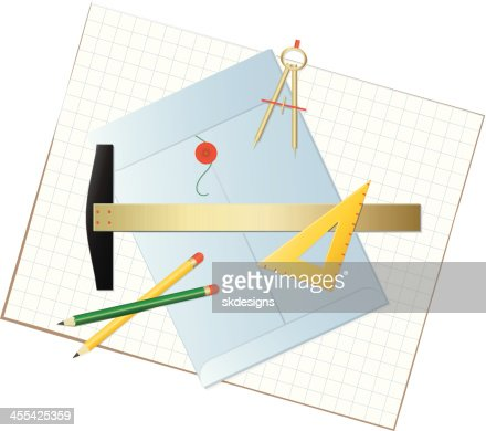 Graphics Tools Layout With Pencils Envelope Compass Triangle Graph