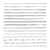 Graphite pencil hand drawn vector lines. Set of strokes, brushes. Isolated on white background