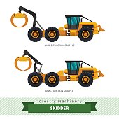 Grapple skidder forestry vehicle vector isolated illustration