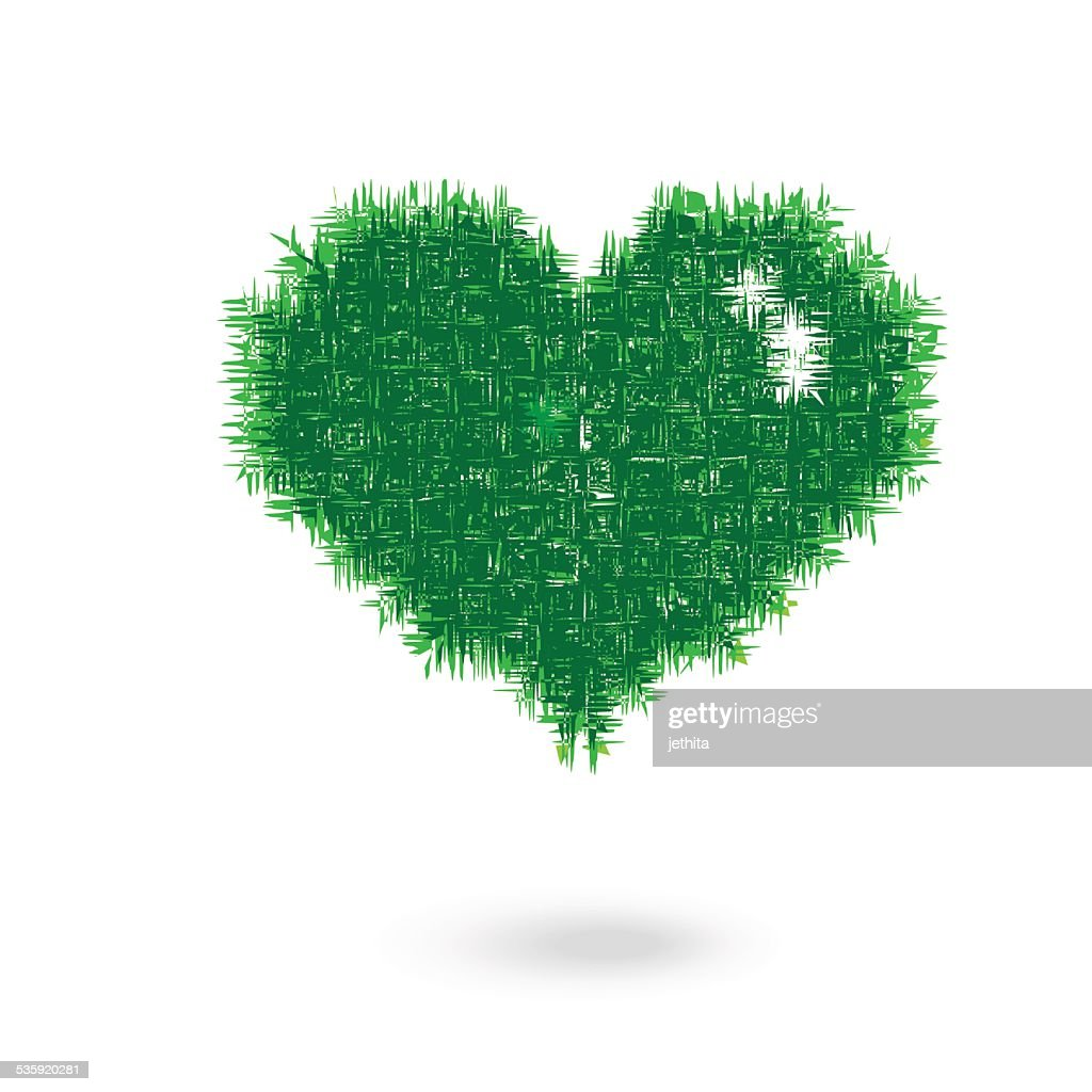 grass heart shape illustration : Vector Art