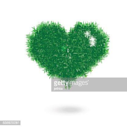 grass heart shape illustration : Vector Art