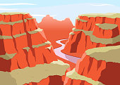 Grat Canyon National Park Arizona United States Colorado Plateau seven natural wonders, vector illustration cartoon.