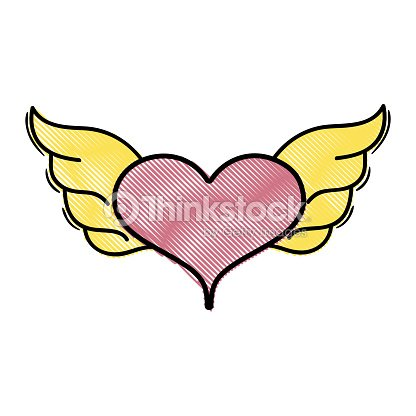 Grated Heart With Wings Symbol Love Art Vector Art Thinkstock
