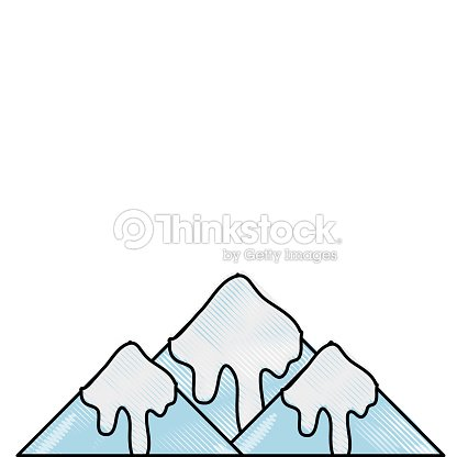 Grated natural snowy mountain and cold weather