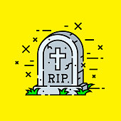 Gravestone cemetery icon. RIP tombstone symbol. Graveyard grave headstone with cross isolated on yellow background. Vector illustration.